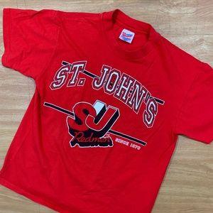 Vintage St. John's Redmen College Shirt Red Large